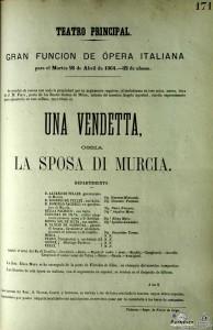 Cartel representación Una Vendetta, La sposa di Murcia, Teatro Principal de Valencia, 26 abril 1864_El club del escenario